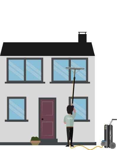 Illustrasjon av WeClean vasker vindu
