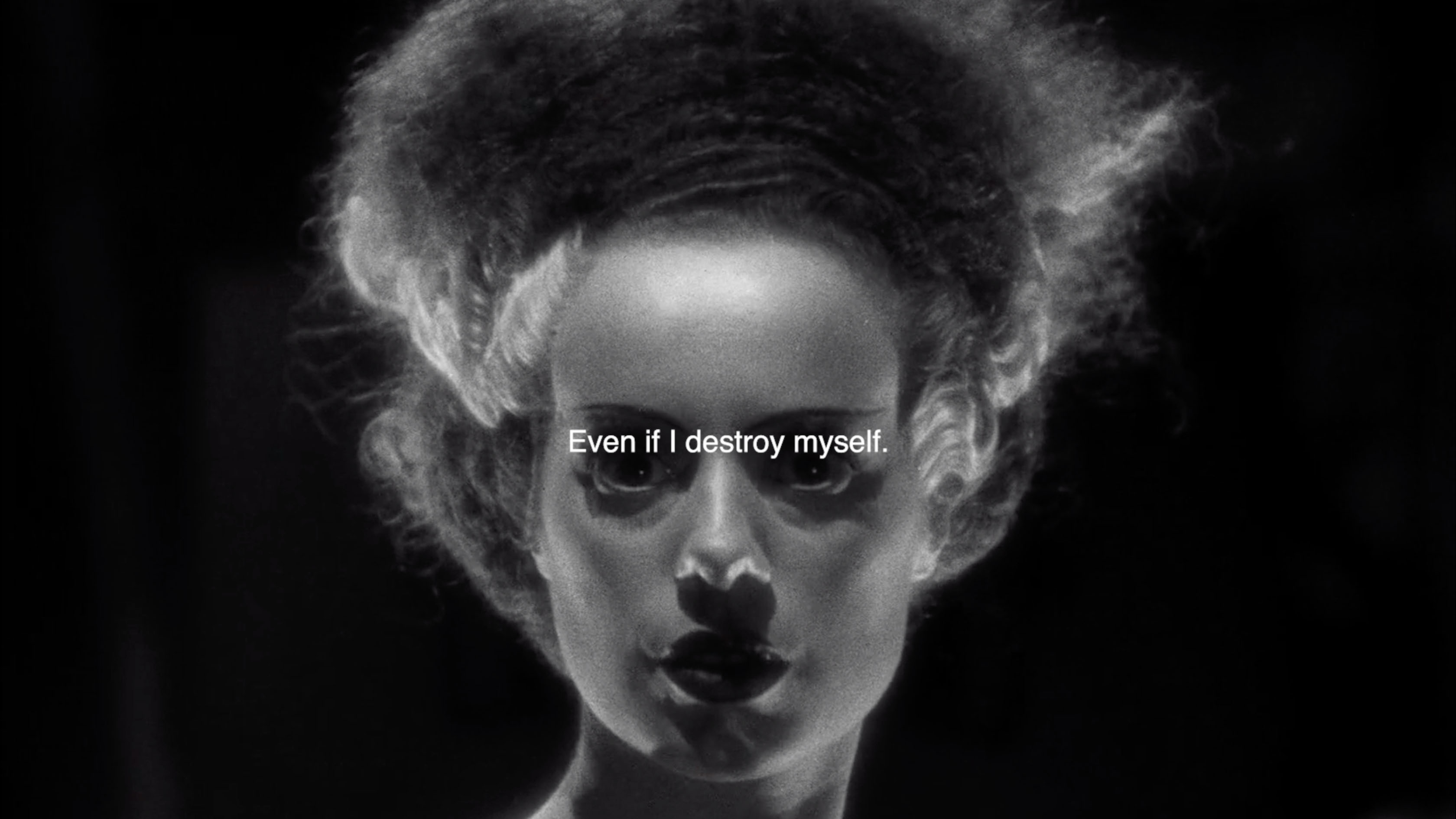 "The bride of Frankenstein looks direectly at the viewer with a black background behind her. The words ""Even if i destroy myself"" are writen in white across the centre of the image, above her eyes."