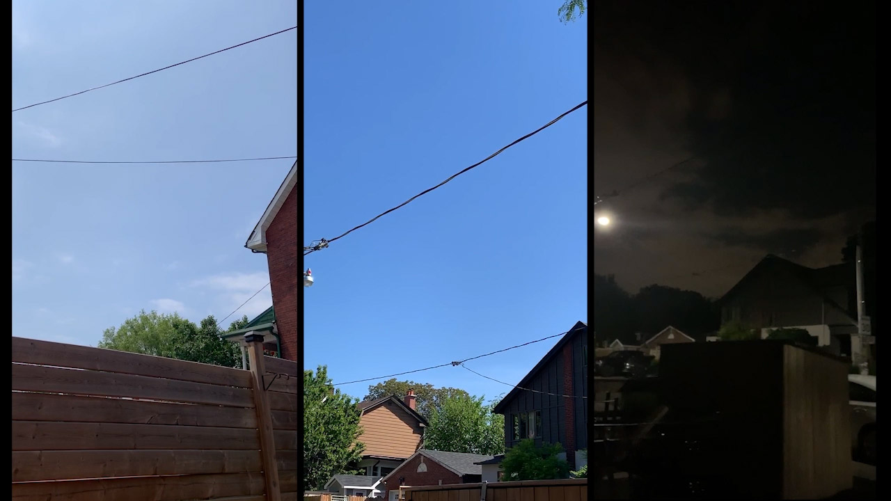 Different stages of the sky illustrating the passage of time. Starting from the left, a cloudy morning sky obstructed by a fence, the middle image depicts a clear blue afternoon sky and the last image depicts a cloudy night sky with houses on the horizon and a full moon.