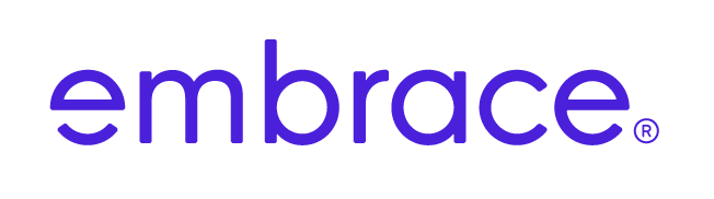 embrace logo in blau