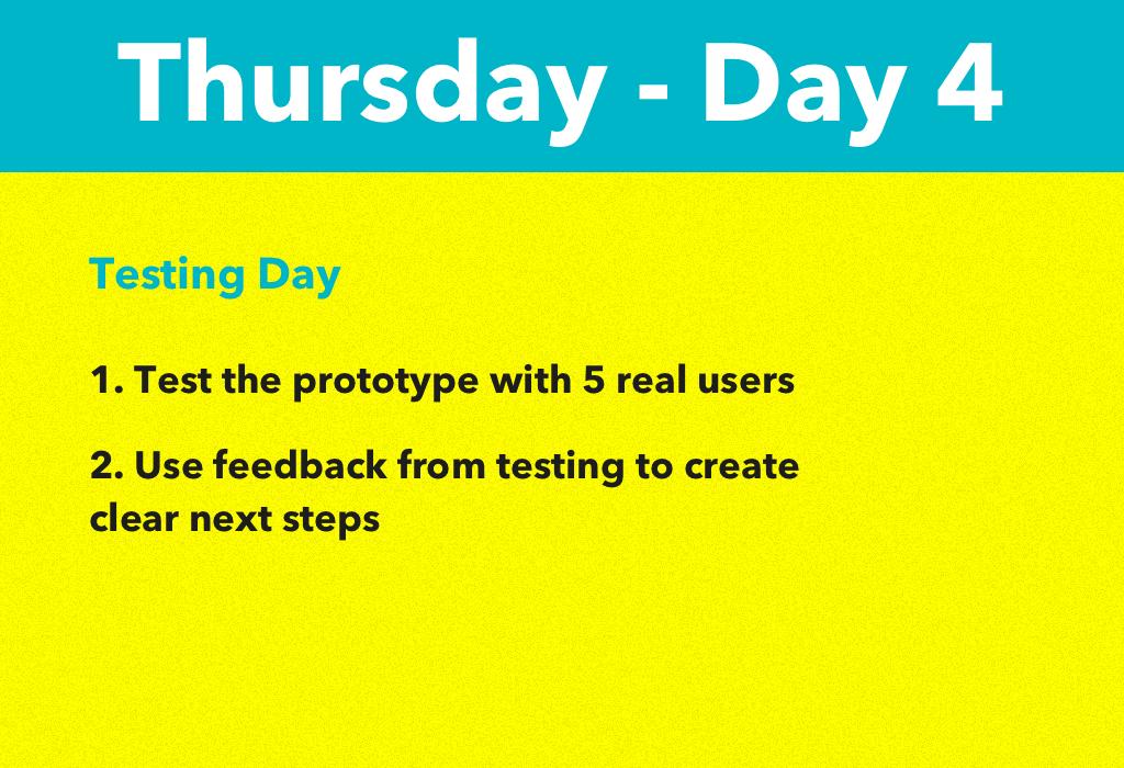 Design Sprint 2.0 Day 4 Thursday