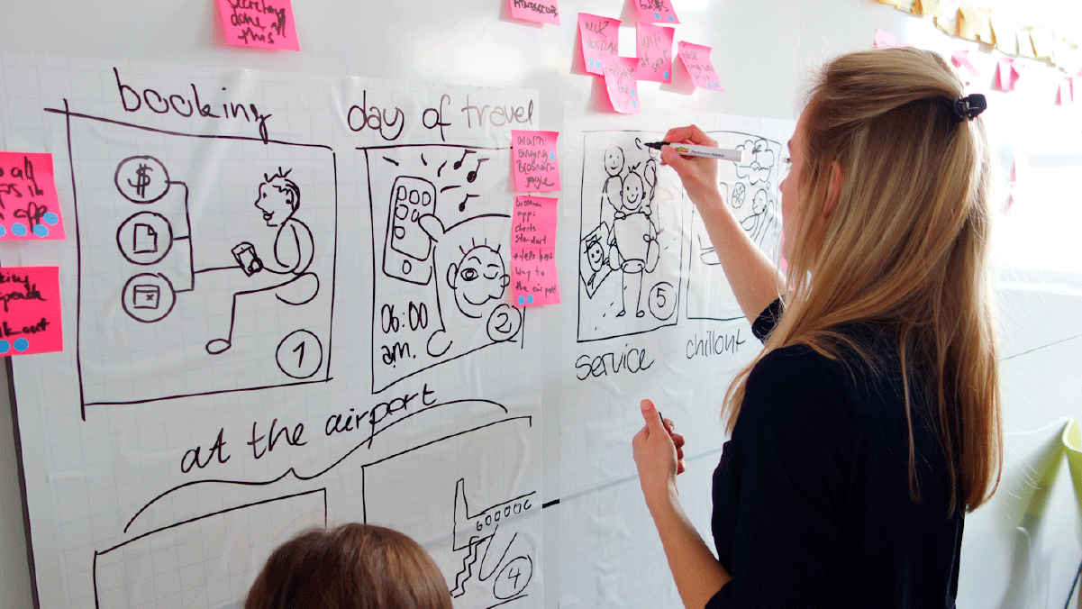 Woman drawing a wireframe on a whiteboard