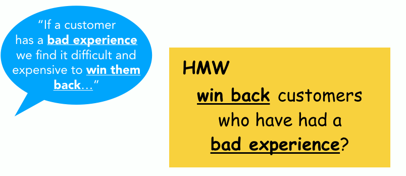 An example of a How Might We (HMW) exercise