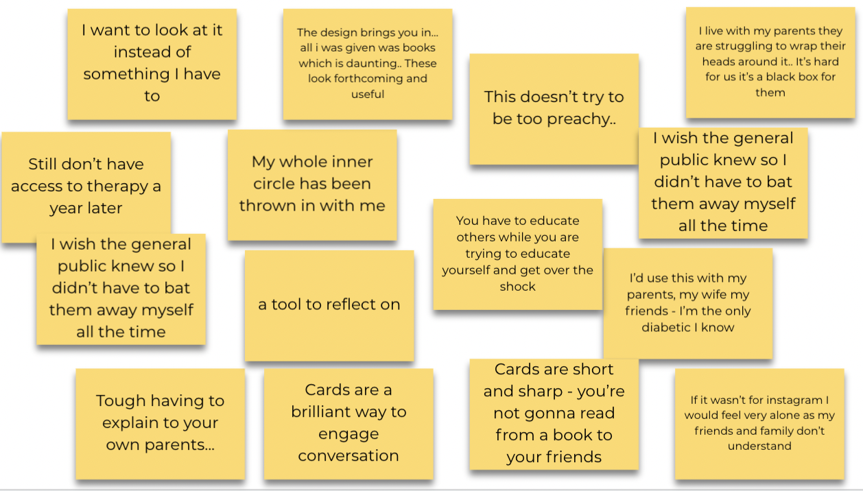 Quotes about the companion cards from recently diagnosed adults