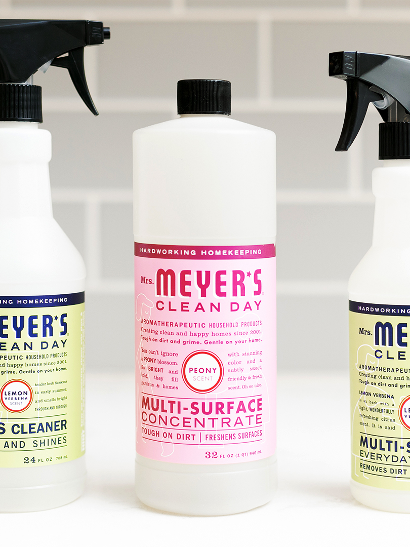 Three bottles of Mr. Meyer's plant-derived cleaning products