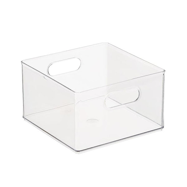 Clear plastic open top stackable bin with integrated handles