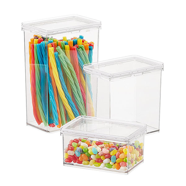 Clear plastic containers with clear tops.