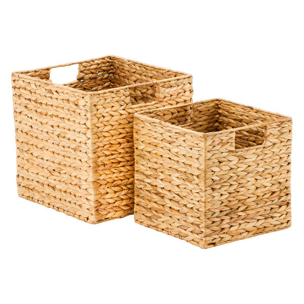 Woven water hyacinth open top cubes with integrated handles