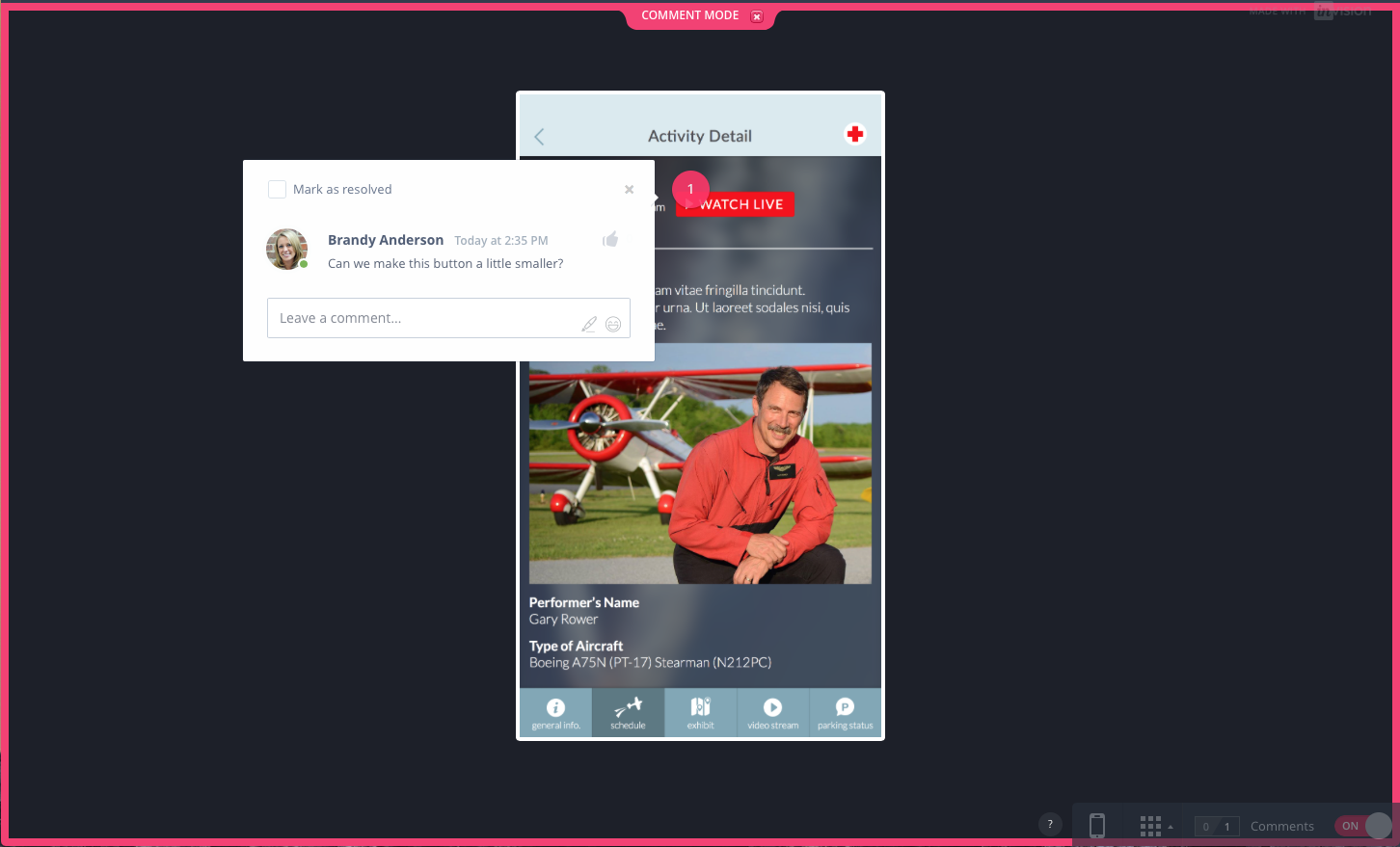 Example of an InVision Comment