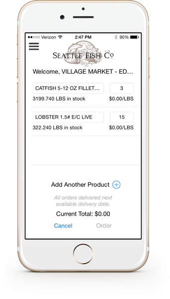 Seattle Fish Company Mobile App Order Screen