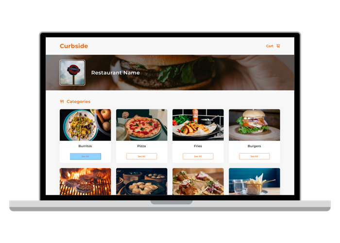 Curbside Food Ordering Screen Screenshot