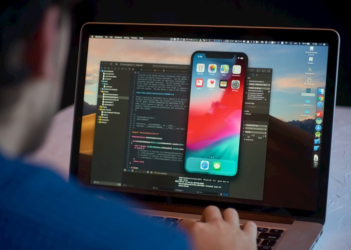 Developer coding on computer
