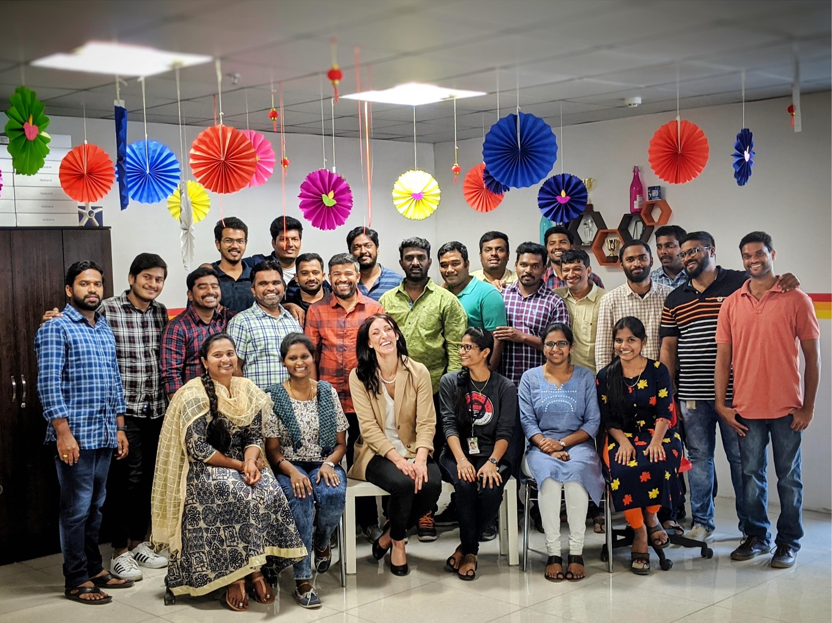 Image of CEO Amanda Moriuchi and AppIt Ventures Development Team in Hyderabad