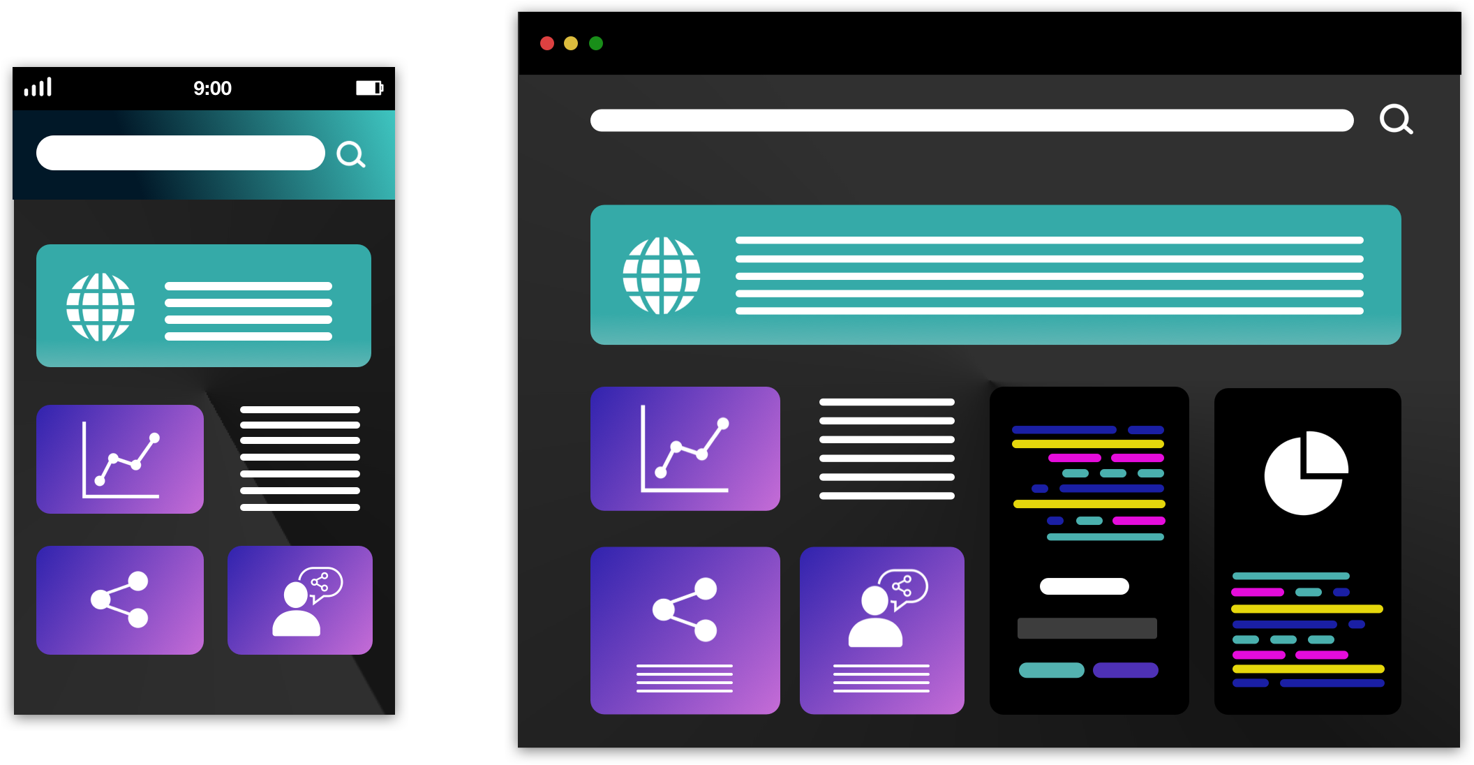 web app and website user interfaces