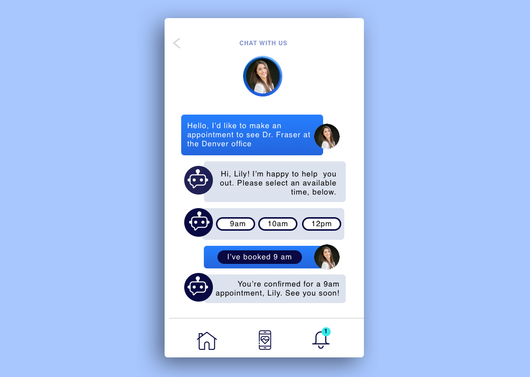 a mobile healthcare application with a chatbot feature