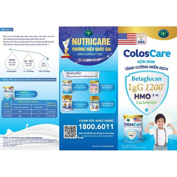 Sữa ColosCare tăng cường miễn dịch cho trẻ