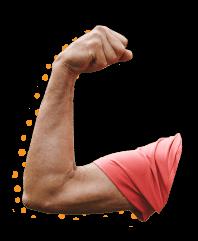 Arm som viser klimastyrke.