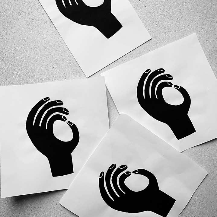Hands cutout print