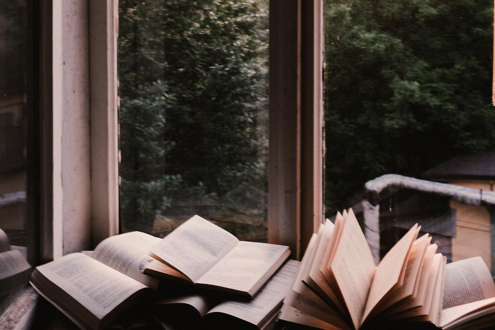 open books on a shelf