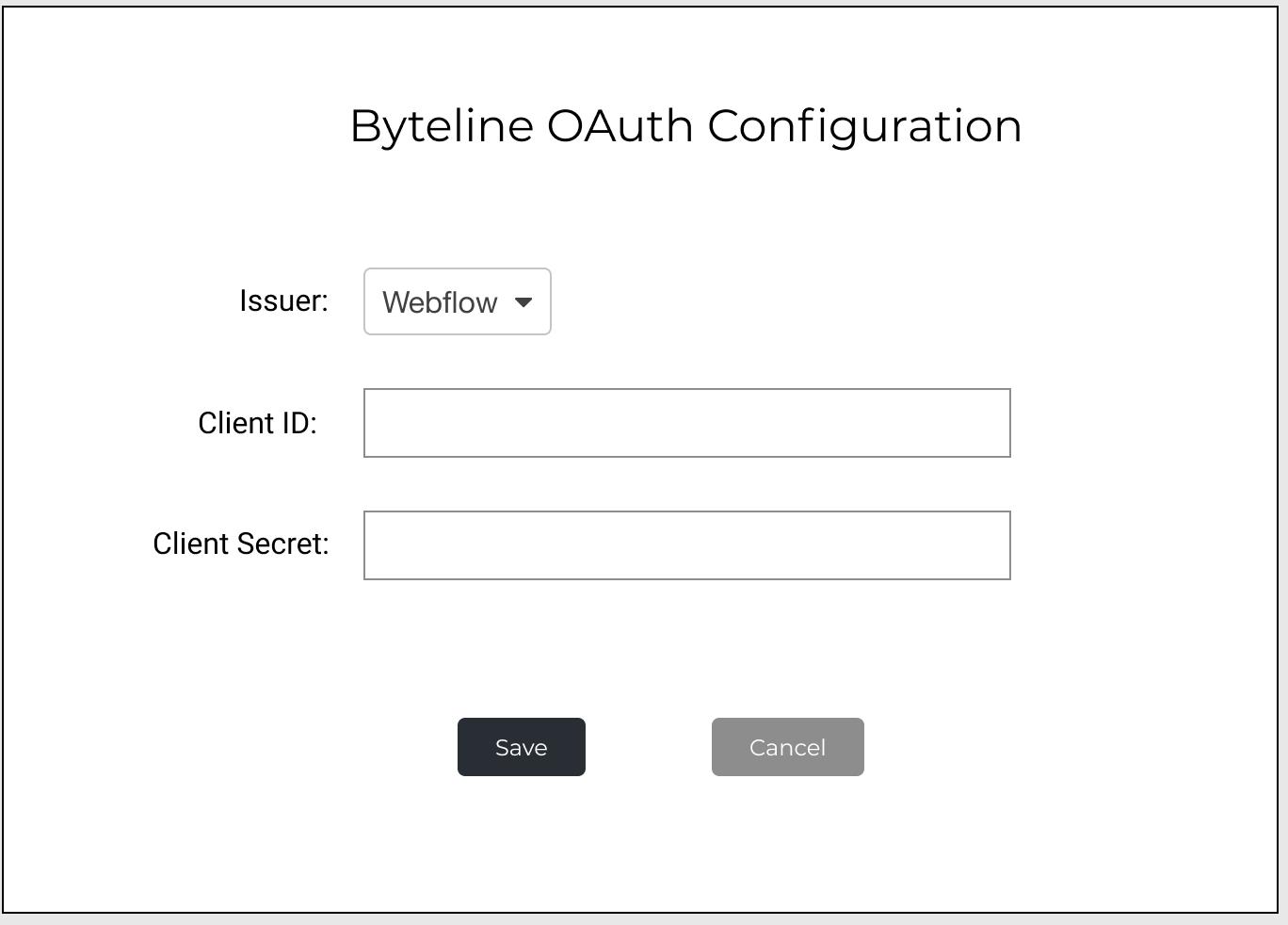 Byteline OAuth configuration