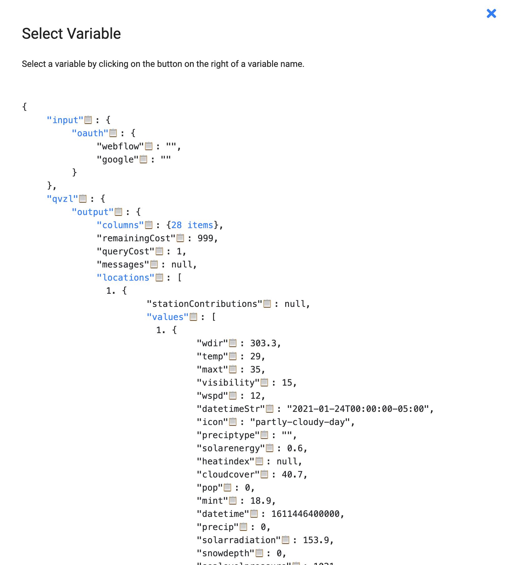 Byteline Select Variable Dialog