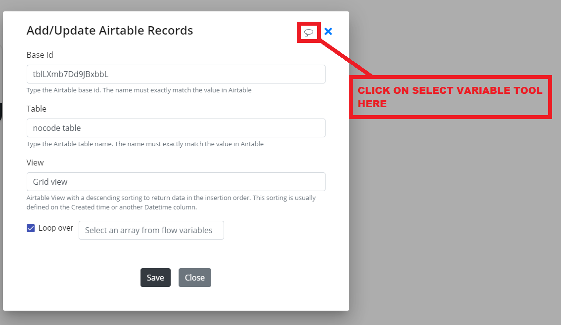 Byteline select variable tool
