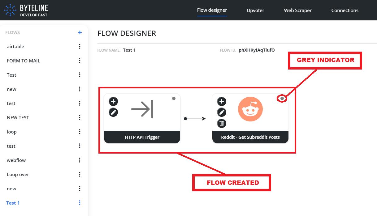 Byteline flow designer - configure Reddit integration