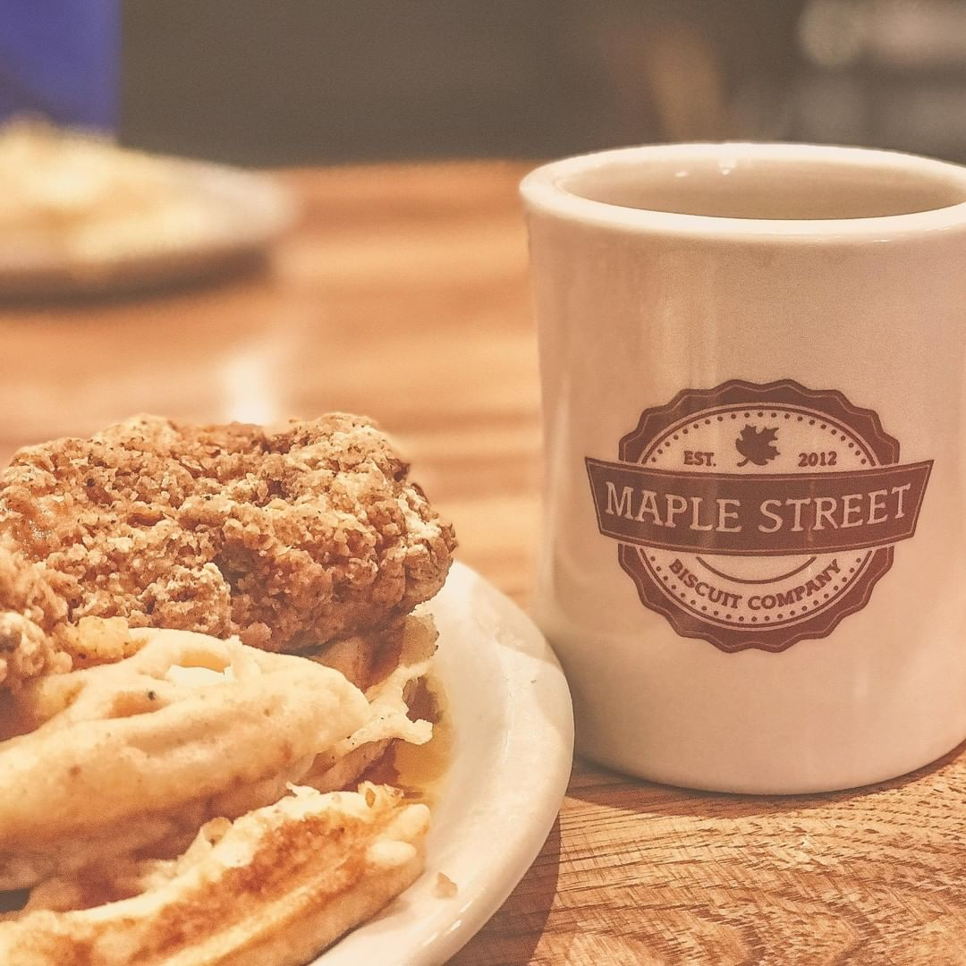 Maple Street Biscuit Gainesville Fl Chicken and Waffles with Coffee