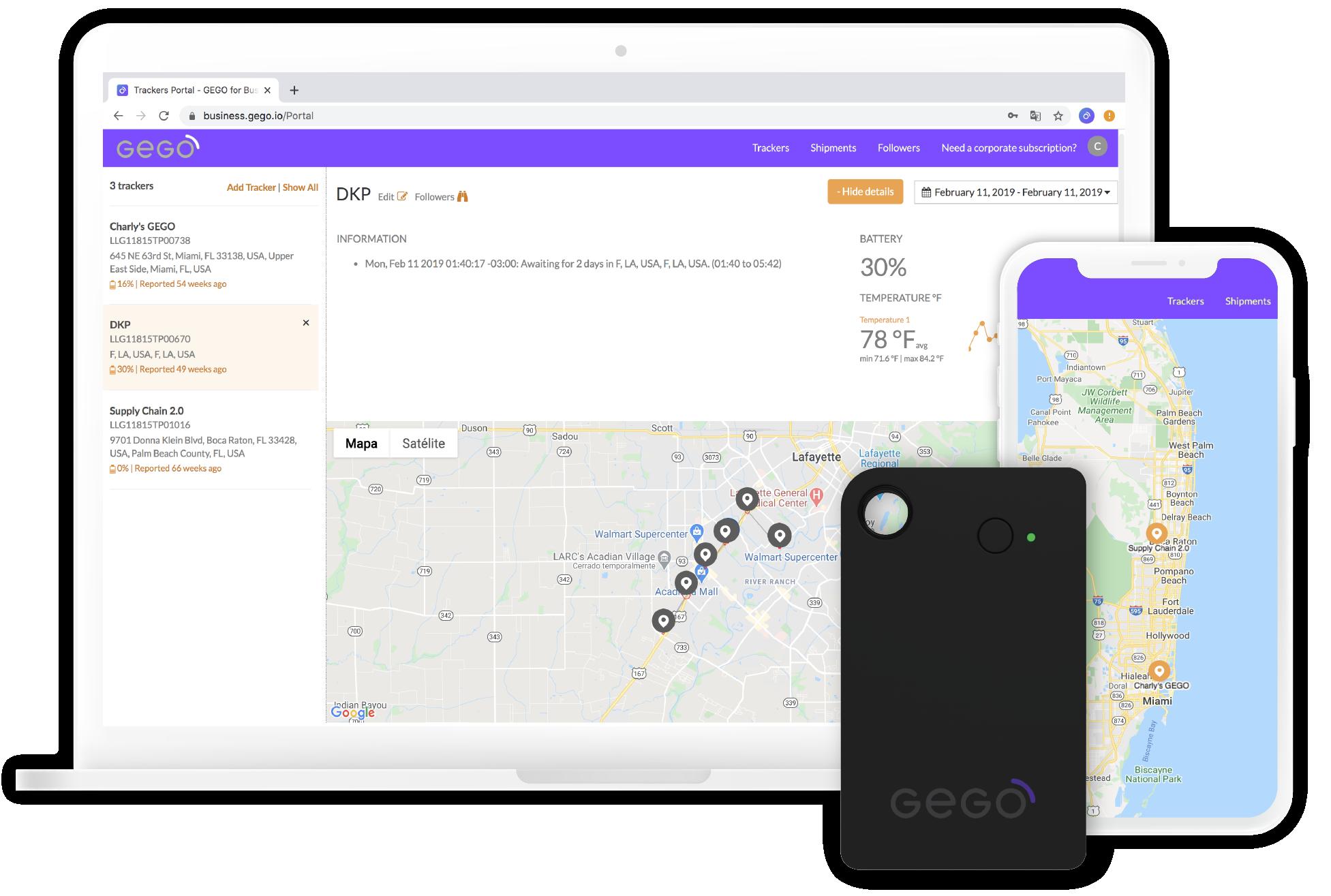 Gego Business platform deskopt, app, and gego device