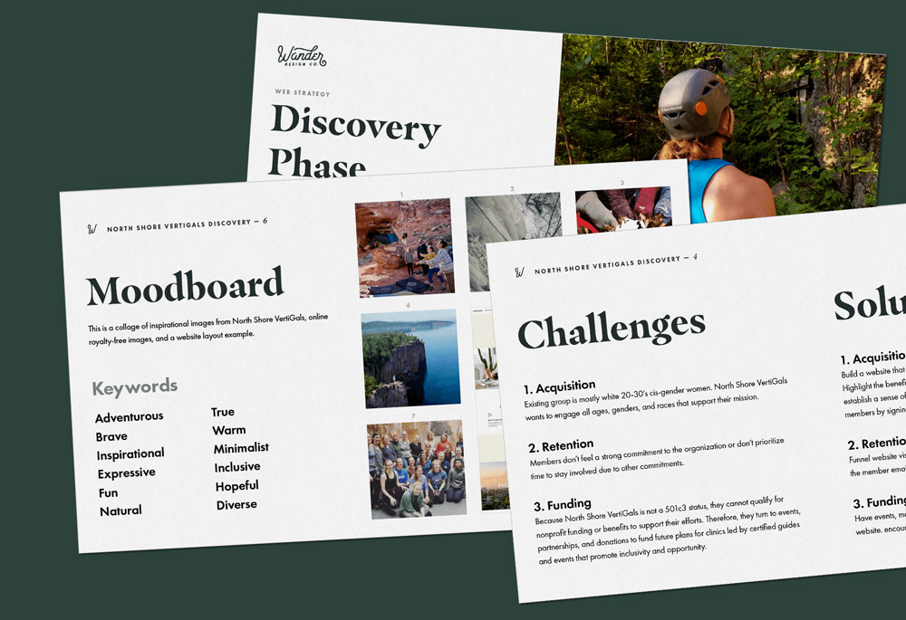 Website strategy and creative direction for womxn's rock climbing organization