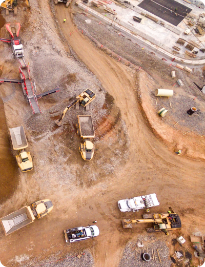 Construction site with multiple heavy equipment