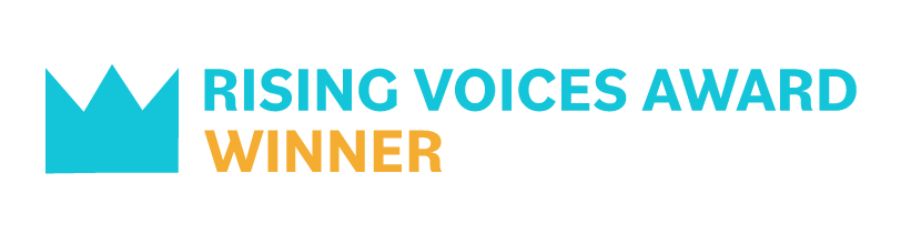 "a crown icon and the words ""rising voices award winner"""