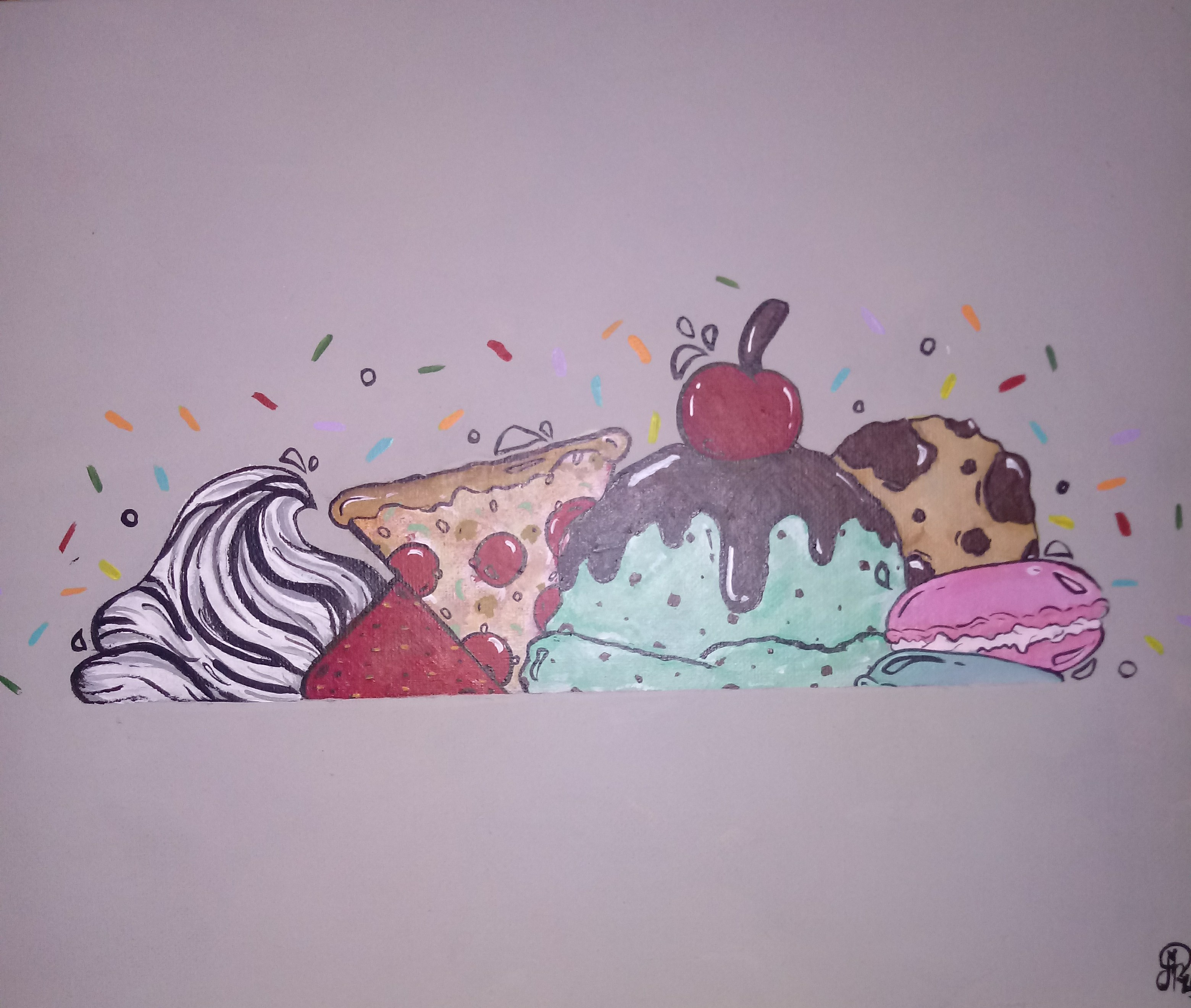 A painting of different sweet snacks including ice cream, pizza, and cookies. Photo courtesy of Jaida Pina.