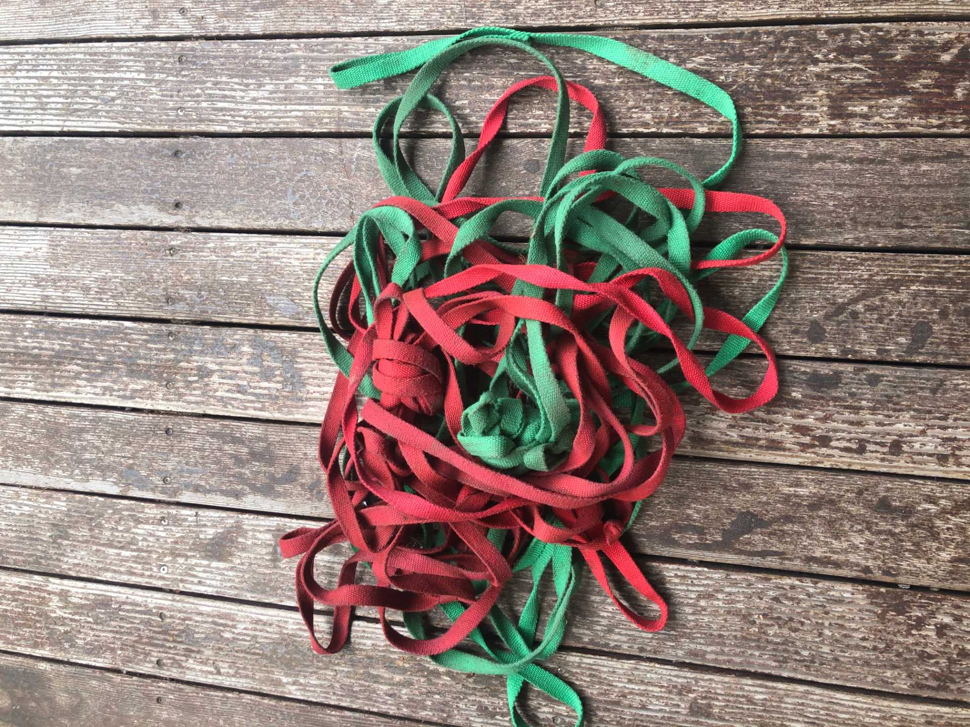 Green and red rope on wood. Photo courtesy of Lauren Johnson.