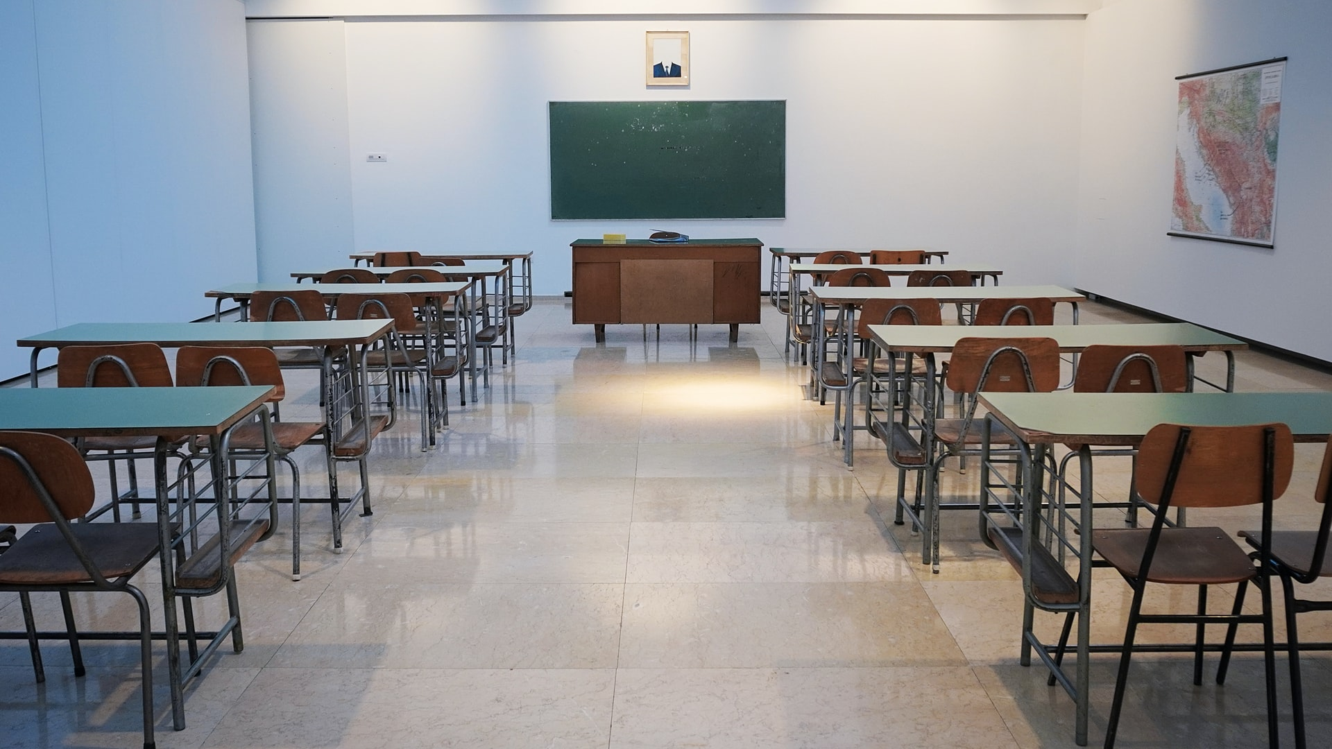 This photo illustrates what an empty class of mine might look like as I take troublesome online classes. Photo courtesy of Ivan Alexsic on Unsplash.