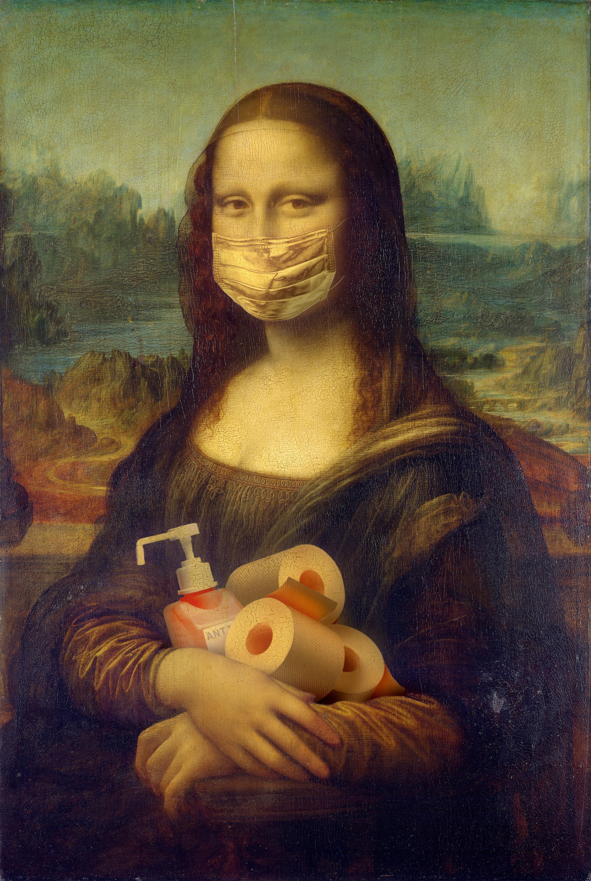 A photo edit of the Mona Lisa wearing a mask and holding cleaning products. Edit by Yaroslav Danylchenko on Pexels.