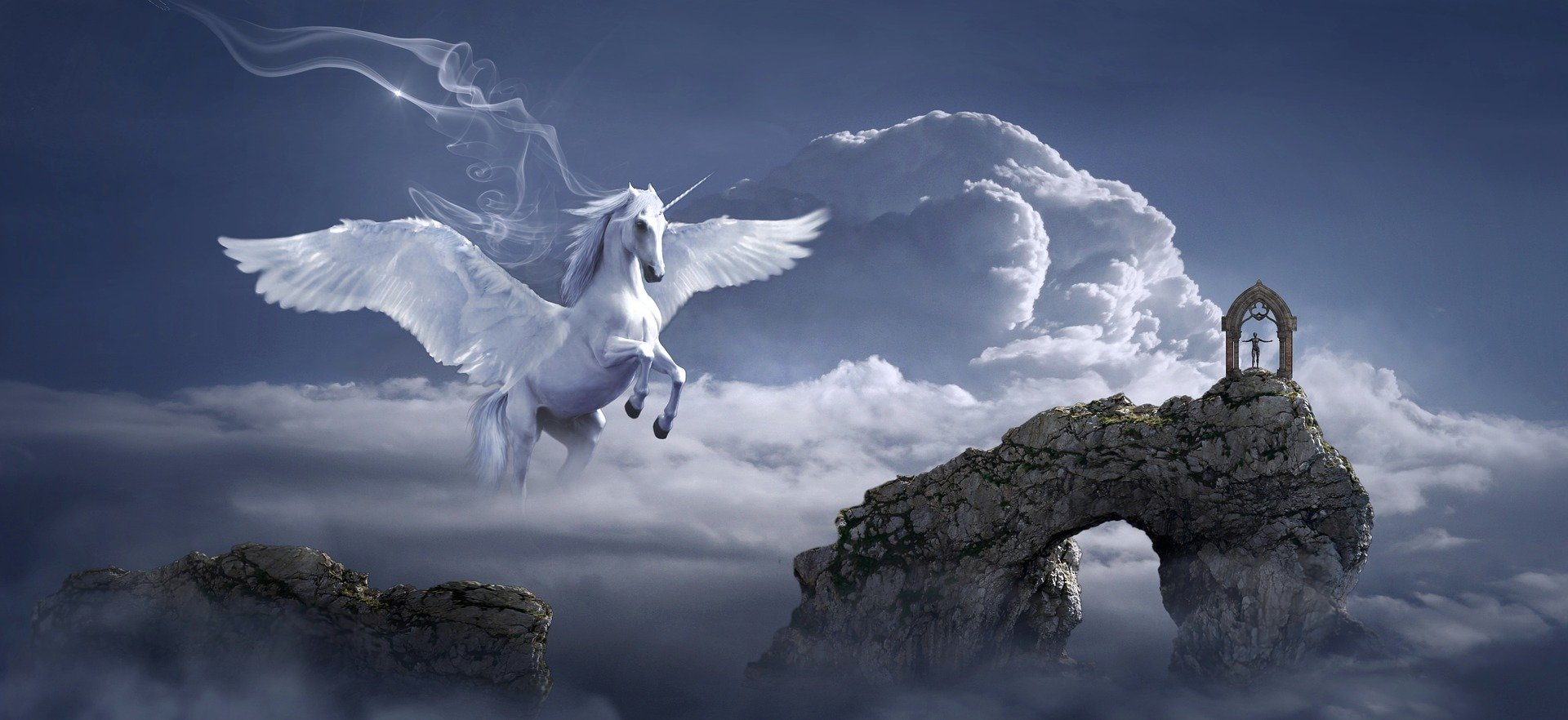 Pegasus flying over an archway in clouds. Photo courtesy of KELLEPICS on Pixabay.