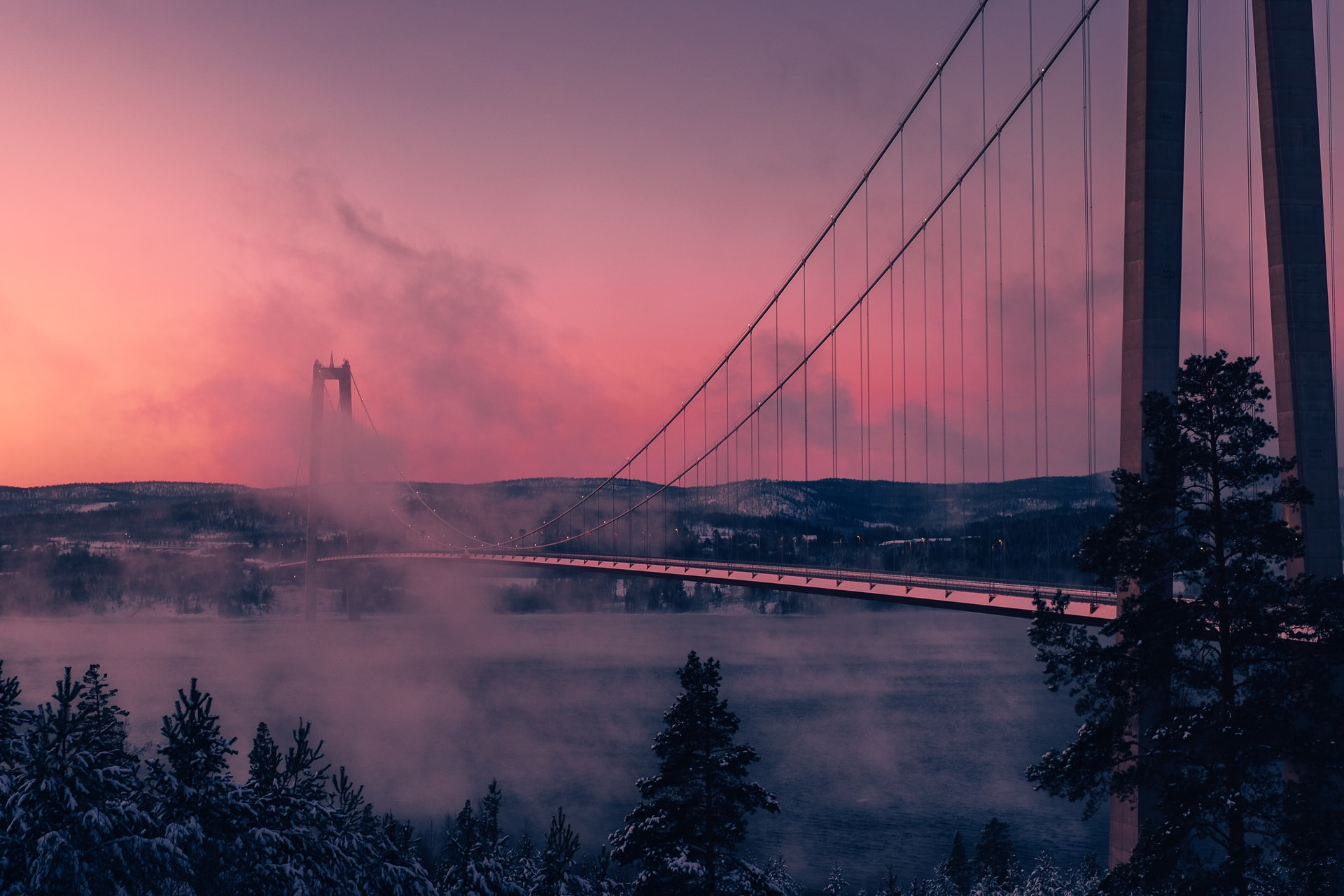 Högakustenbron bridge in the pink and the clouds. Photo courtesy of Anders Jildén on Unsplash.