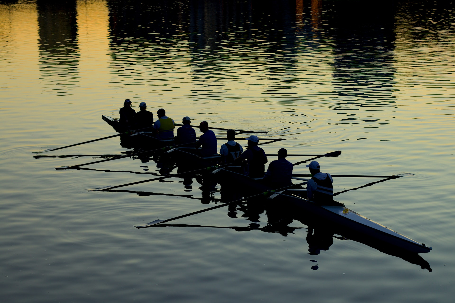 Silhouettes of people rowing a crew boat at sunset. Photo courtesy of Mitchell Luo on Unsplash.