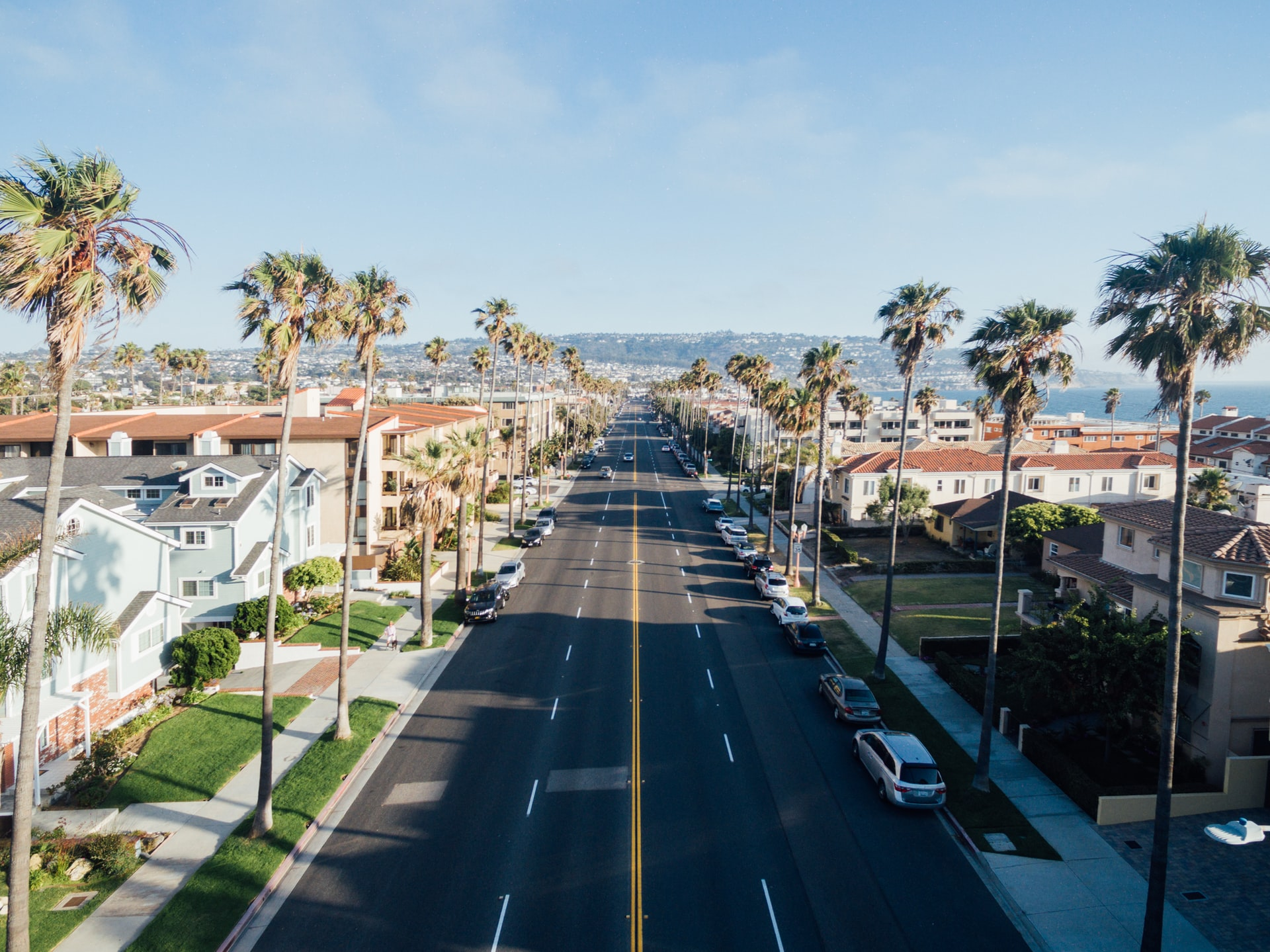 Aerial shot of Redondo Beach street in California, lined with houses and palm trees. Photo courtesy of Paul Hanaoka on Unsplash.