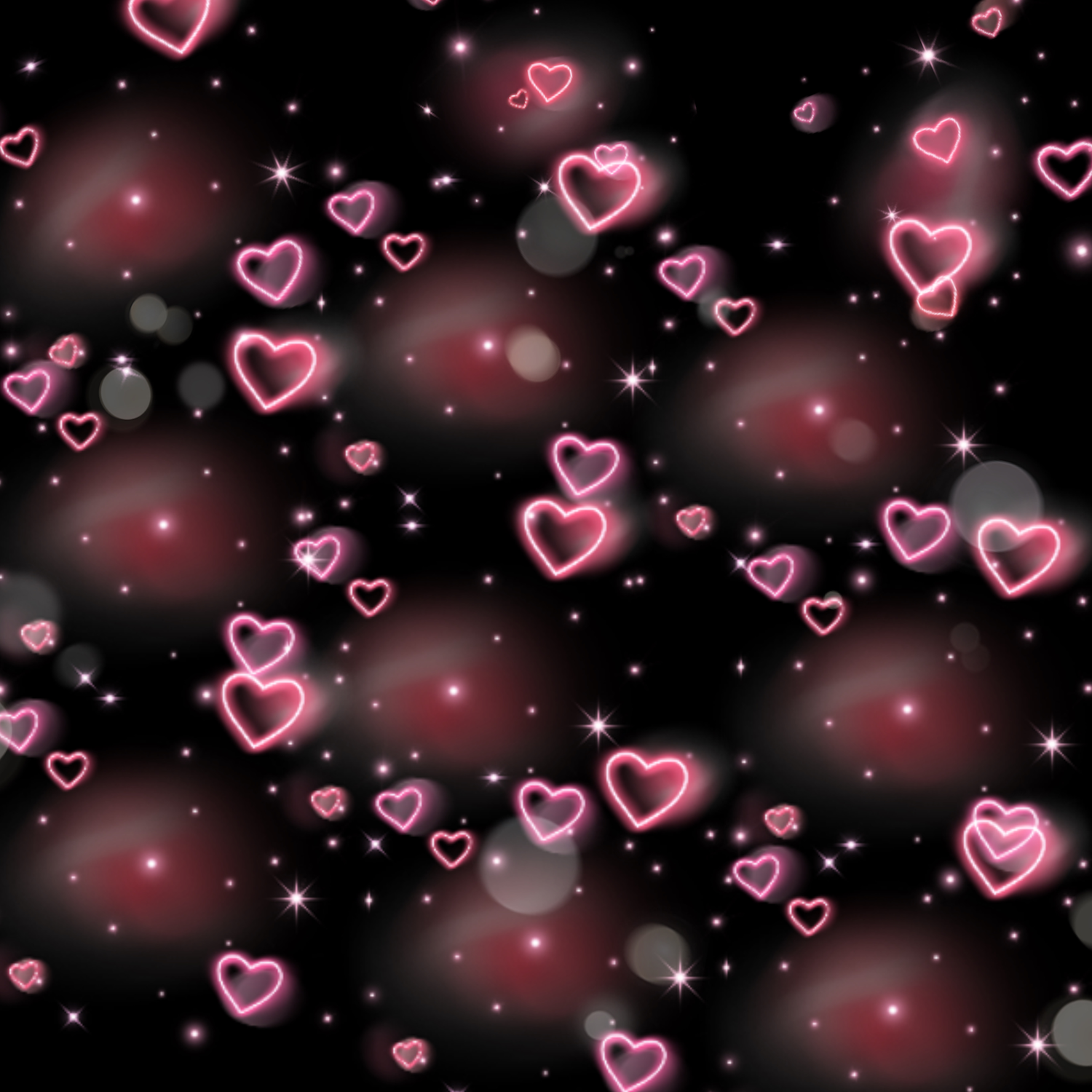 Neon pink hearts on a black background. Photo edit created by Amir Rivers.