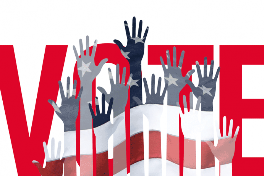 "Photo is a graphic of the word ""Vote"" with hands raised across American flag. Photo courtesy of of the U.S. Chamber of Commerce website."