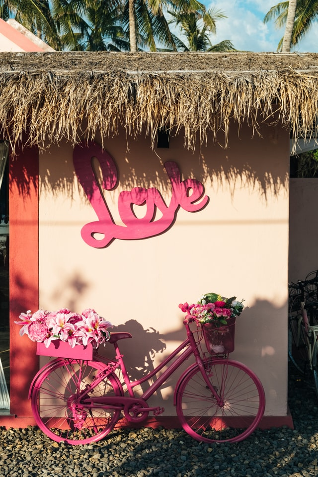 """House with a straw roof and """"Love"""" written in hot pink cursive on the outer wall. Hot pink bicycle in front with flowers in the front and back baskets. Photo courtesy of Bernard Hermant on Unsplash."""