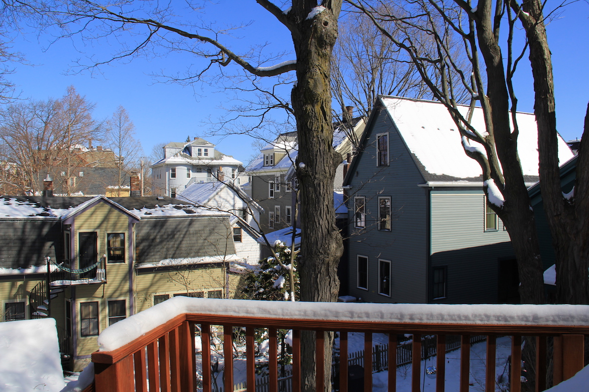A snowy view from the porch of the author's house in Jamaica Plain. Photo taken by Lauren Johnson.