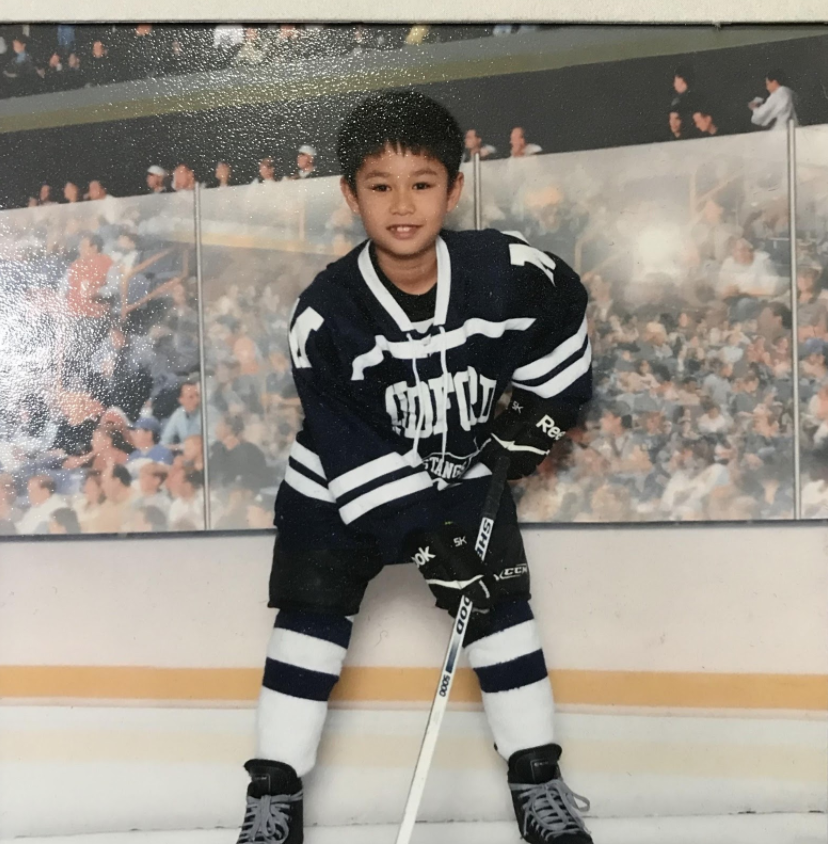 Photo of the author at seven years old in hockey gear. Photo courtesy of the author.