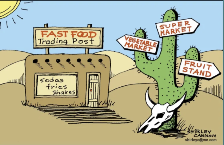 A comic-style illustration of a food desert. Art credit to Shirley Cannon.