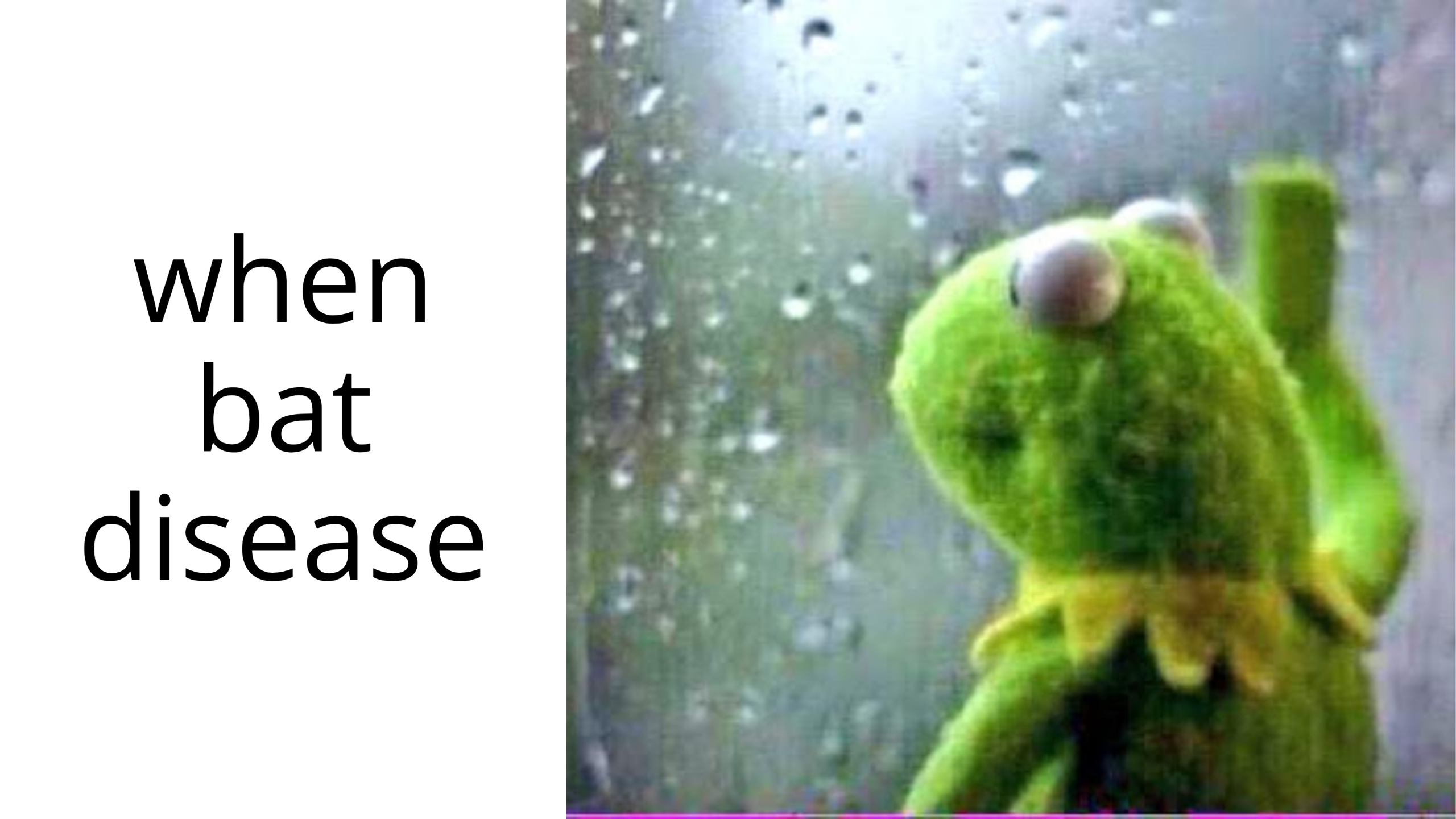 "A meme image of Kermit the Frog looking out a rainy window with the caption ""when bat disease."" Meme by Carson Chu."