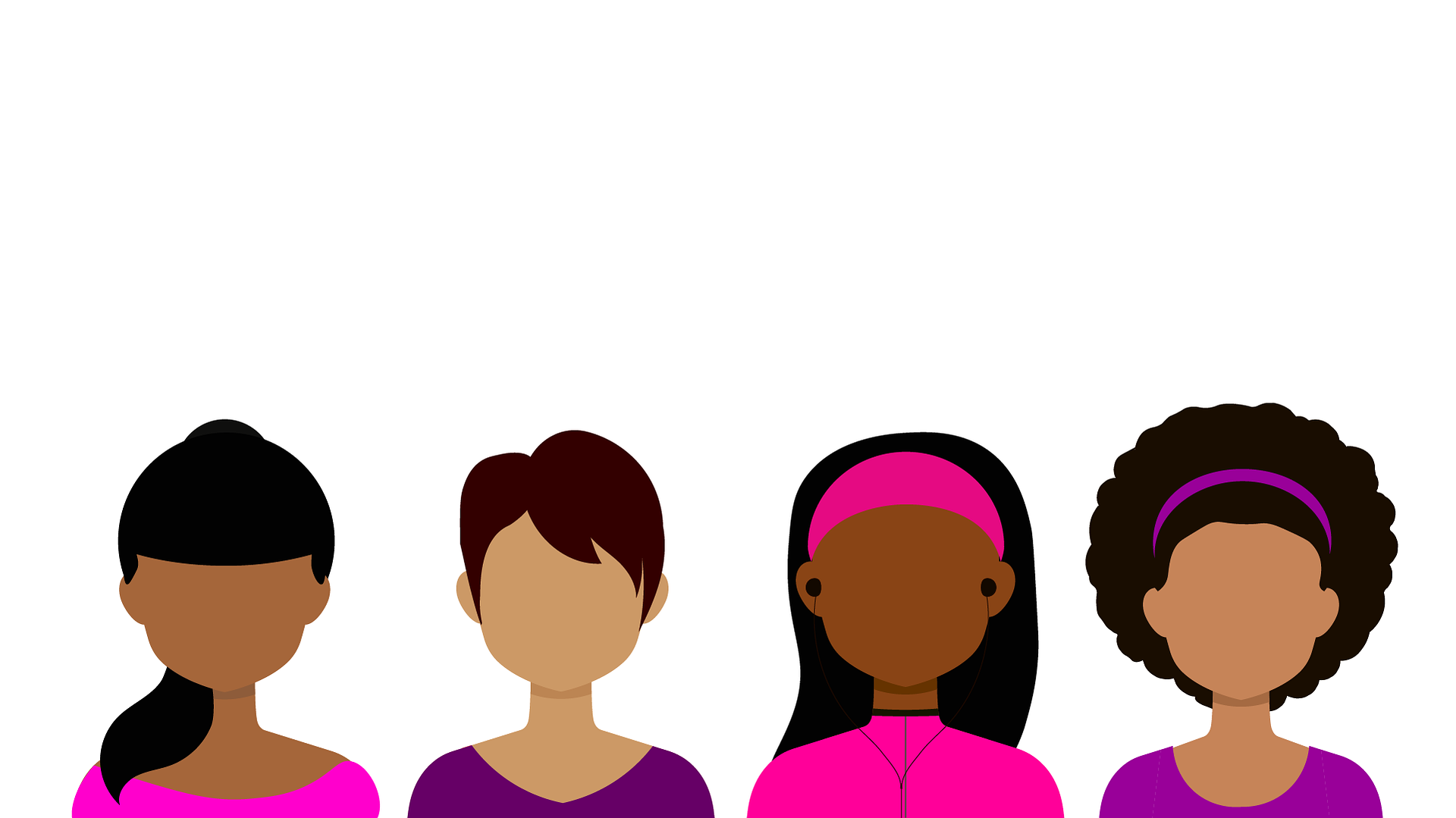 A graphic of several women with different skin tones. Image courtesy of Coffee Bean on Pixabay.