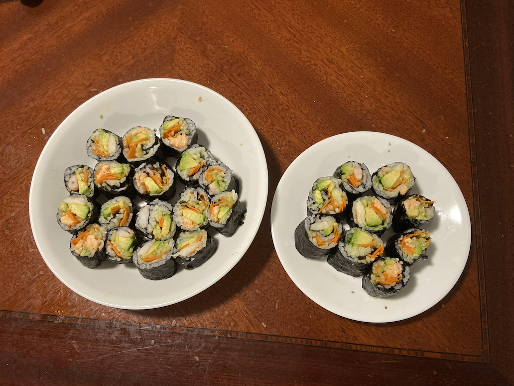Rolls of sushi prepared by the author. Photo taken by the author.