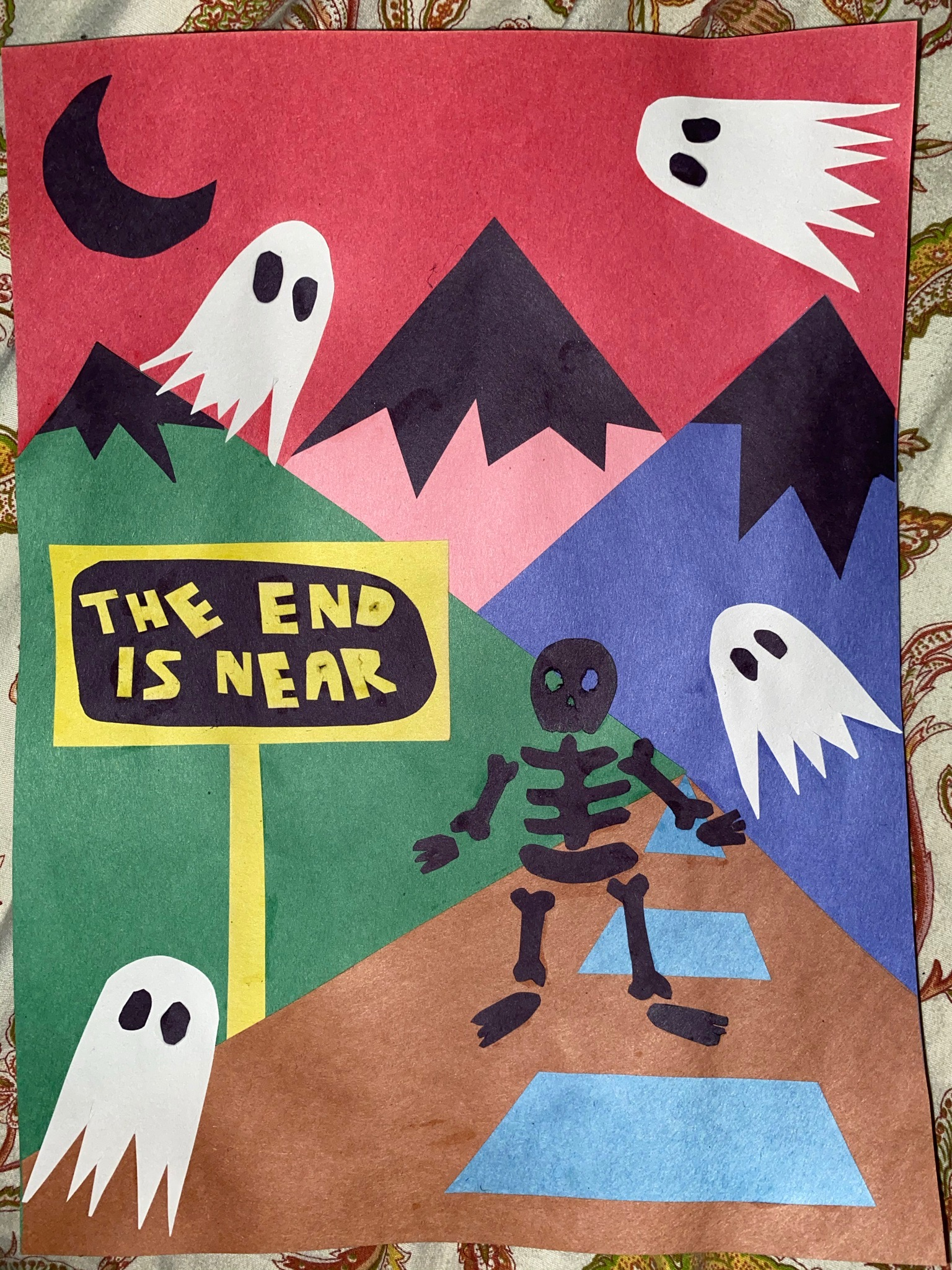 """Artwork created by the author of ghosts closing in on a skeleton, near a sign that says """"THE END IS NEAR,"""" inspired by """"I Know the End"""" by Phoebe Bridgers."""